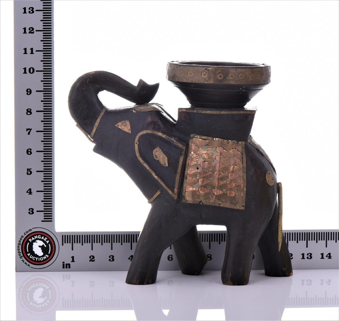 Two Vintage Indian Heavy Wood And Brass Elephant - 7