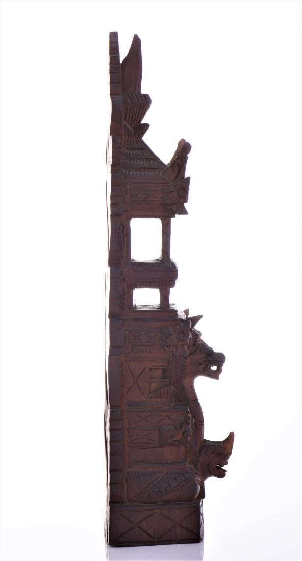 Balinese Tower Wood Carved Sculpture. - 2