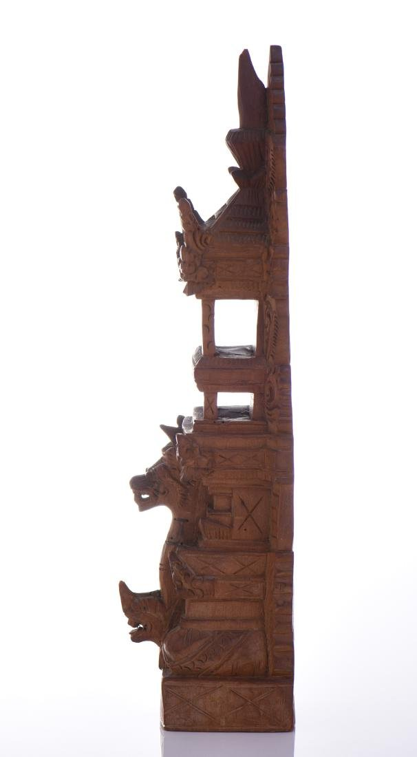 Balinese Tower Wood Carved Sculpture. - 4