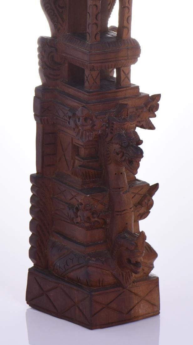 Balinese Tower Wood Carved Sculpture. - 5