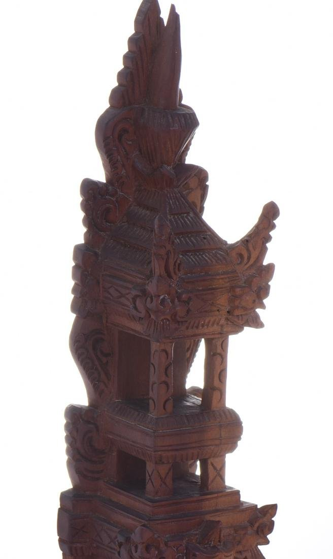 Balinese Tower Wood Carved Sculpture. - 6