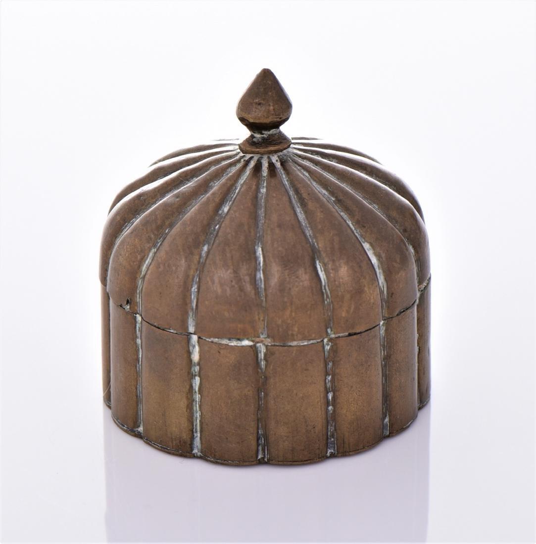 Antique Brass Lidded Dome Trinket Box. - 2