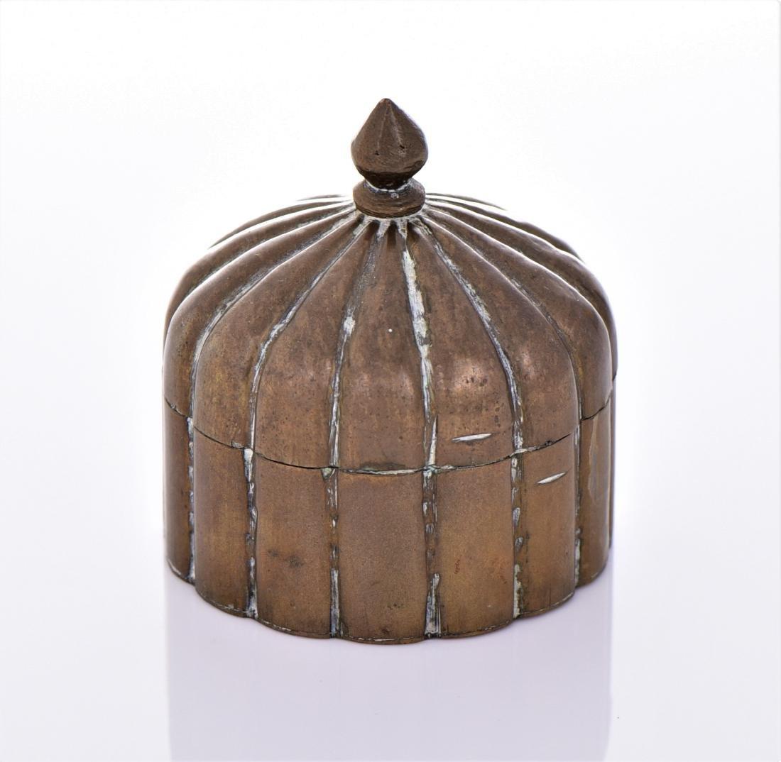 Antique Brass Lidded Dome Trinket Box. - 4
