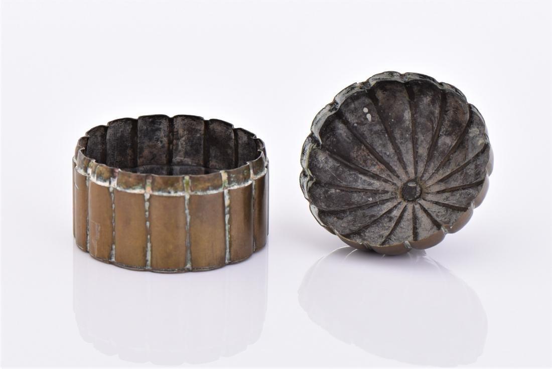 Antique Brass Lidded Dome Trinket Box. - 5