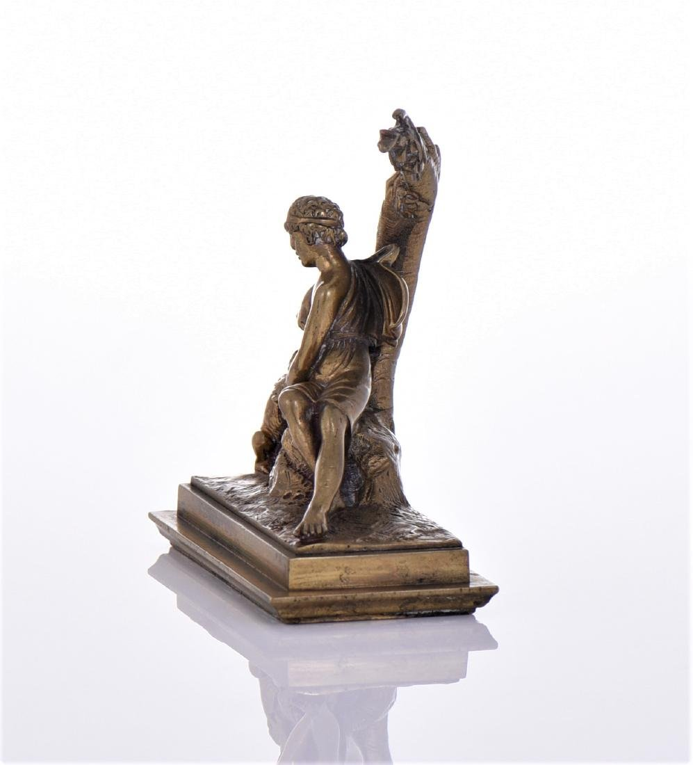 Antique Bronze Inkwell Topper of A Young Roman Boy - 2