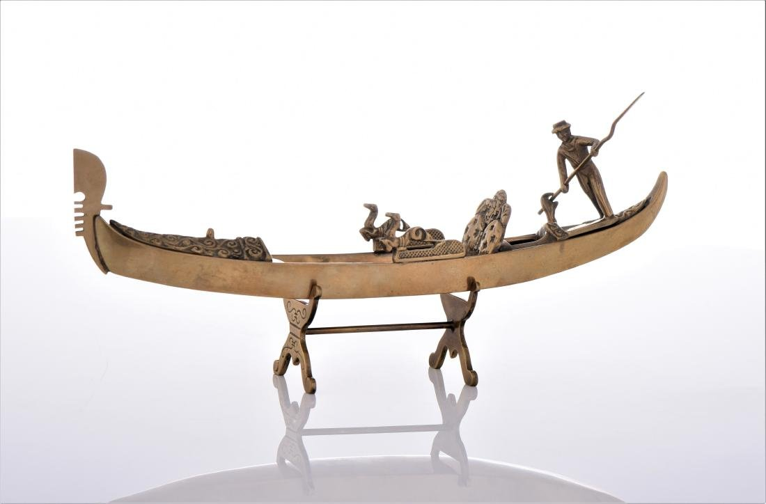 Vintage Venetian Brass Gondola Boat.