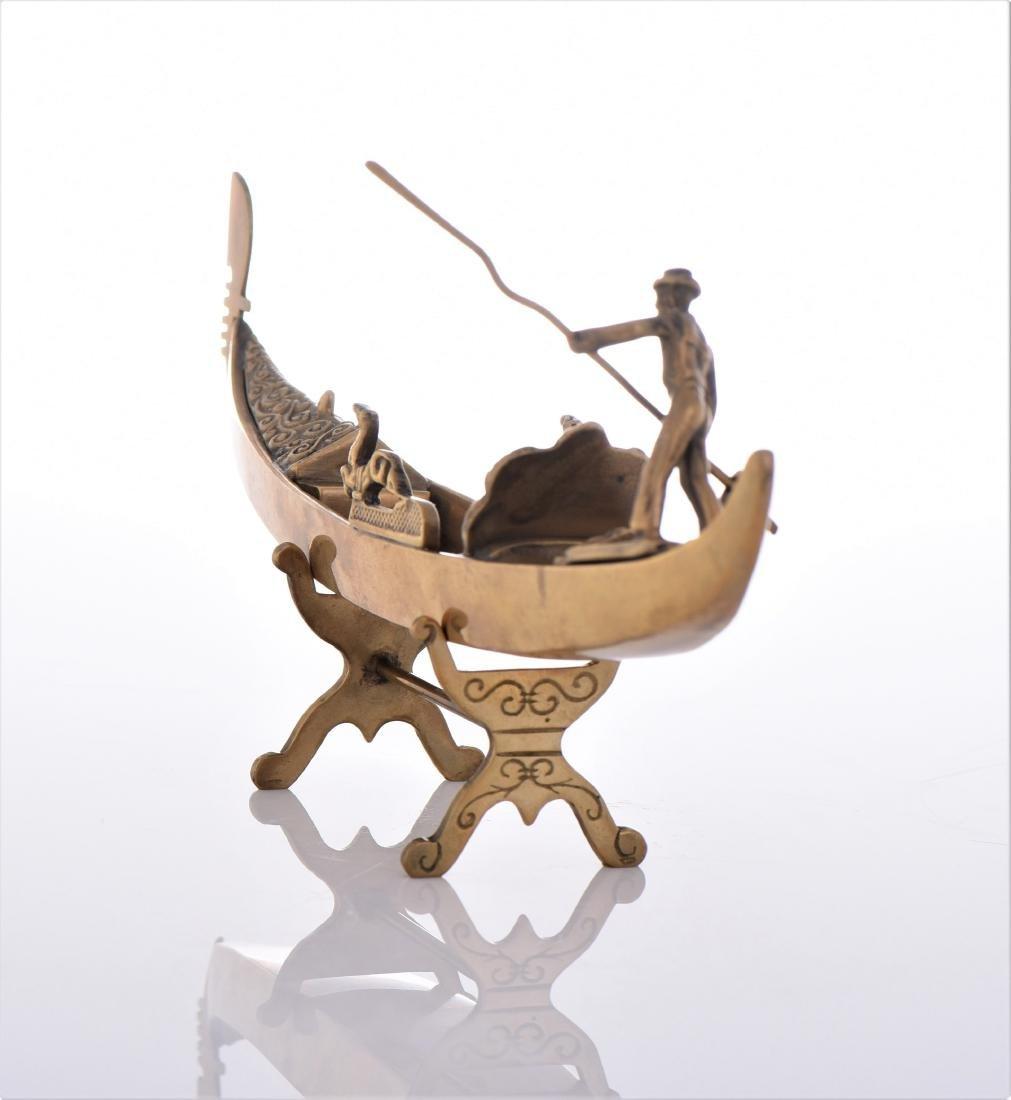 Vintage Venetian Brass Gondola Boat. - 4