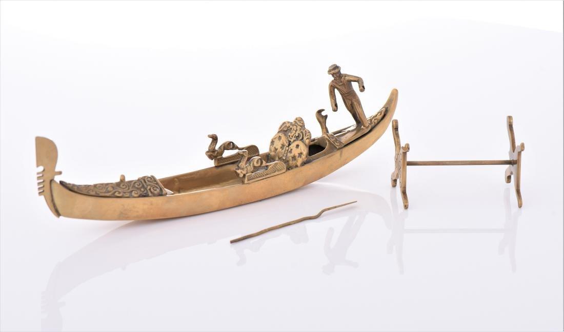 Vintage Venetian Brass Gondola Boat. - 5