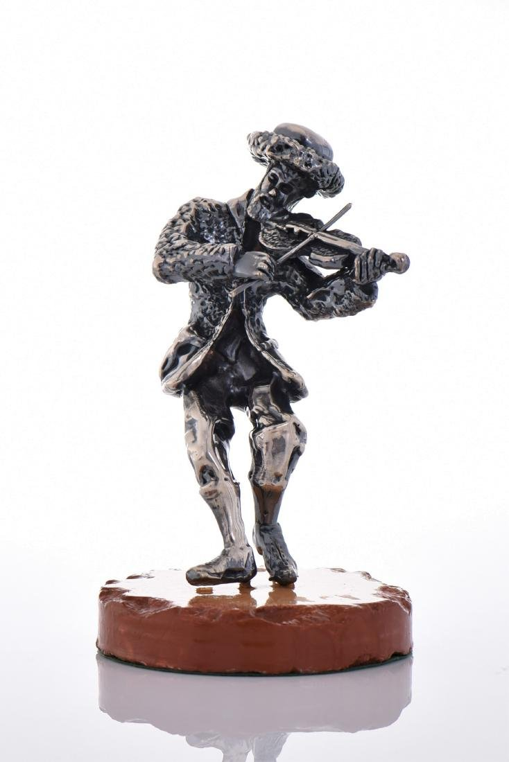 Large Ben Zion Sterling Silver Fiddler On Stone