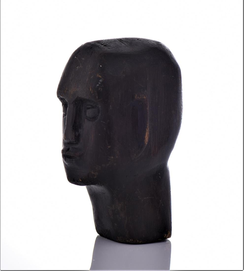 Mid Century Modern Wood Head Carving. - 4