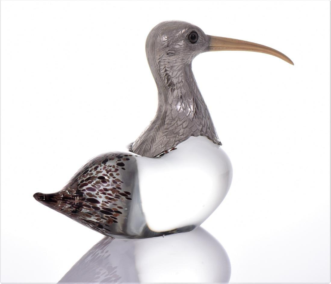 Vintage Murano Blown Glass Long Billed Curlew Bird - 2