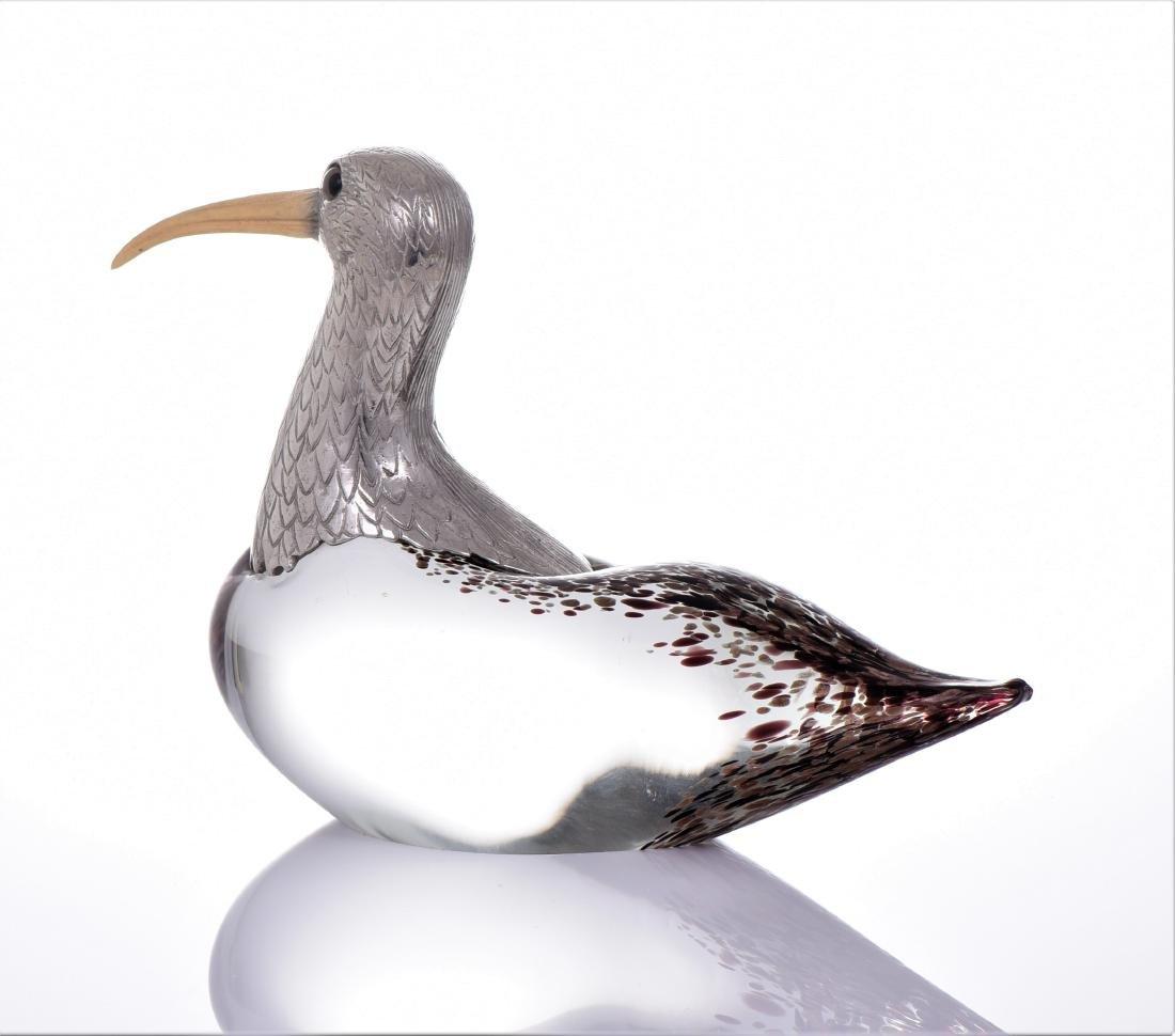 Vintage Murano Blown Glass Long Billed Curlew Bird - 3