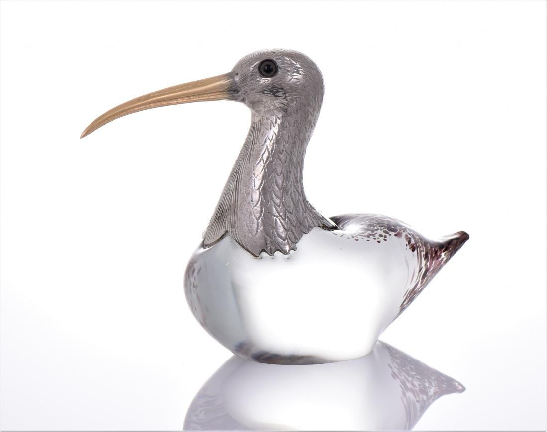 Vintage Murano Blown Glass Long Billed Curlew Bird - 4