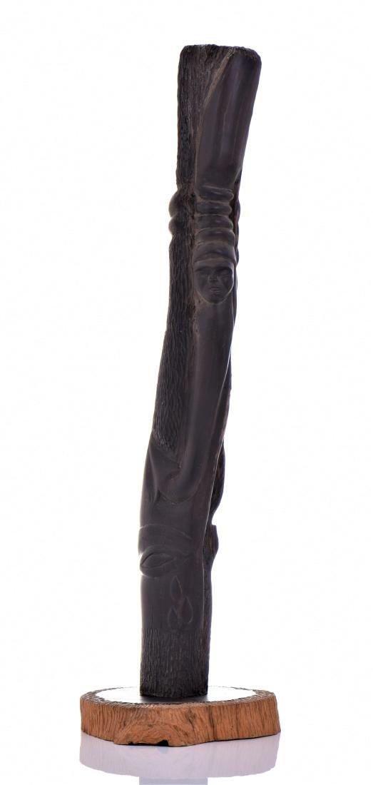 Vintage Hardwood Totum Pole Carving Sculpture - 3