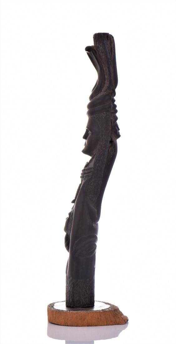 Vintage Hardwood Totum Pole Carving Sculpture - 4