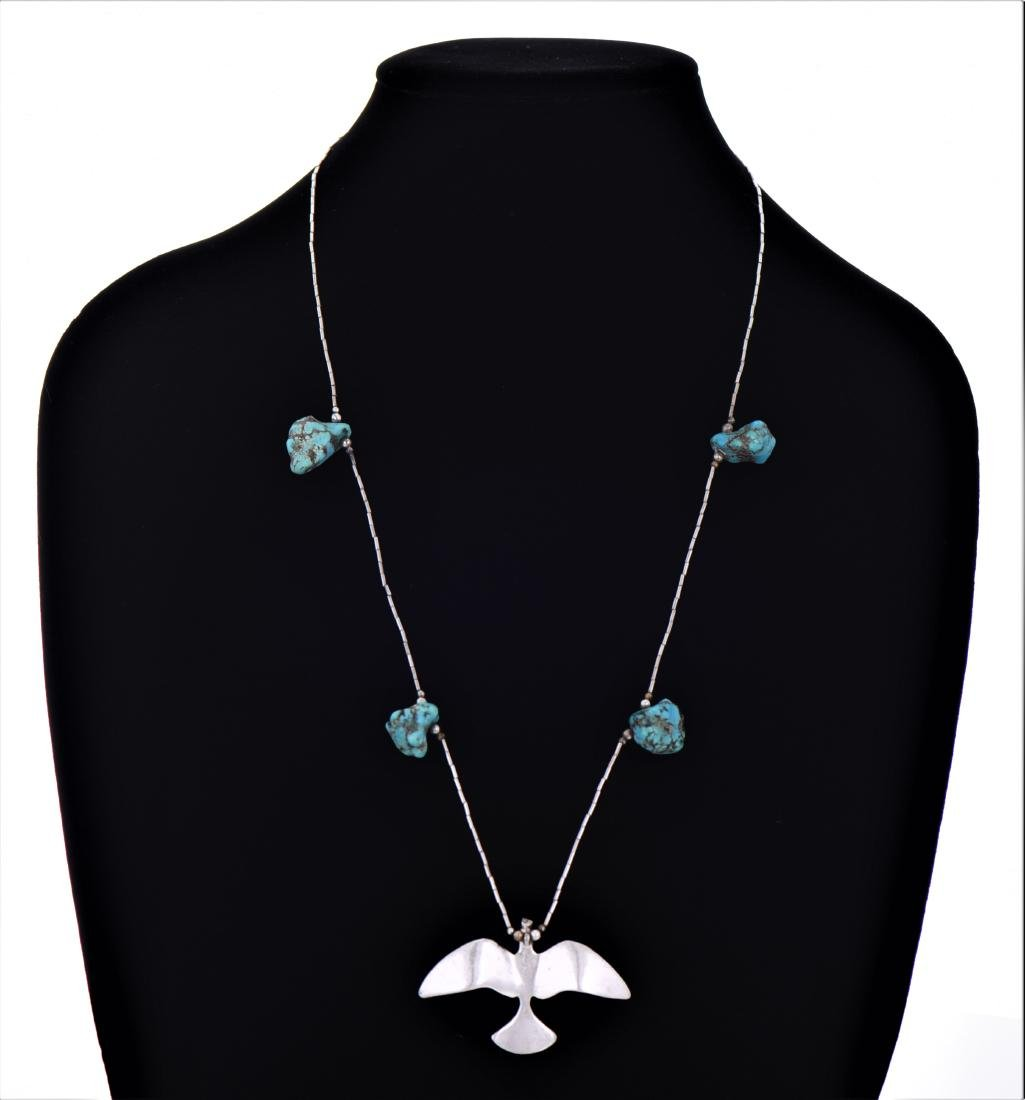Native American South West Blue Turquoise Sterling - 2