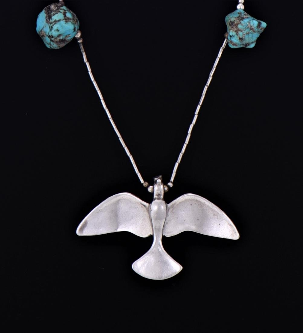 Native American South West Blue Turquoise Sterling - 3