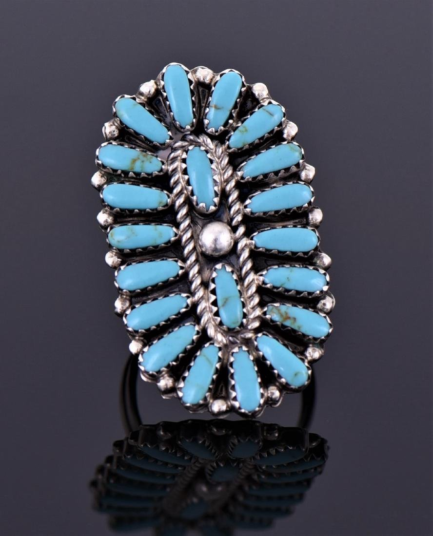 Large Sterling And Turquoise Ring Signed T