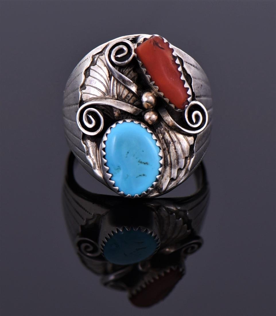Large Sterling Red Coral And Turquoise Ring - 2
