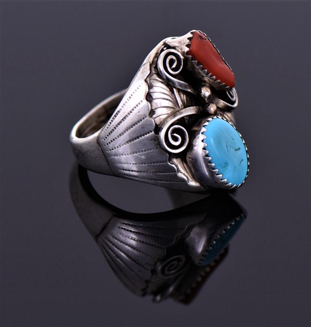 Large Sterling Red Coral And Turquoise Ring - 3