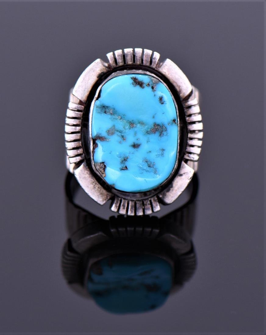 Naka Sterling Native American Blue Turquoise Ring