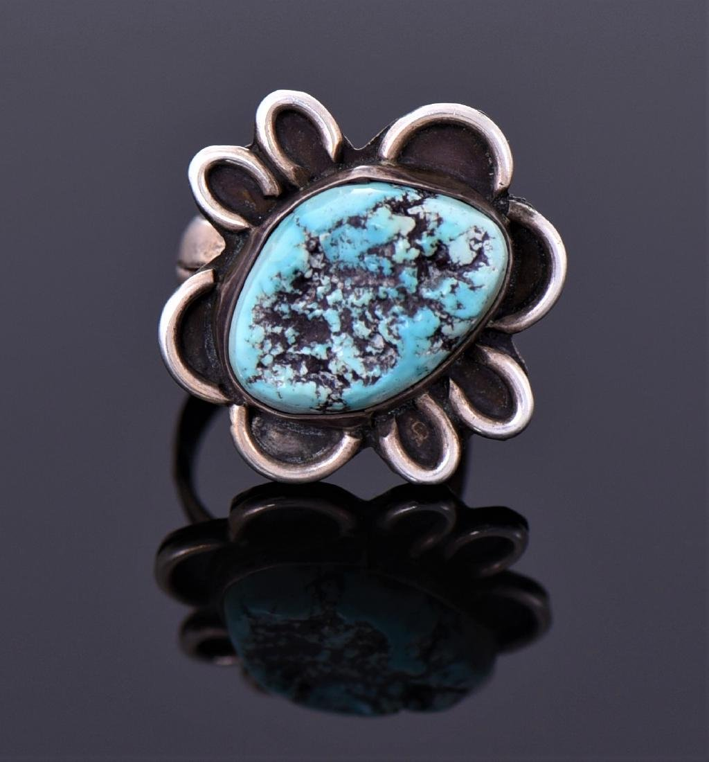 Sterling Turquoise Ring Signed Ab
