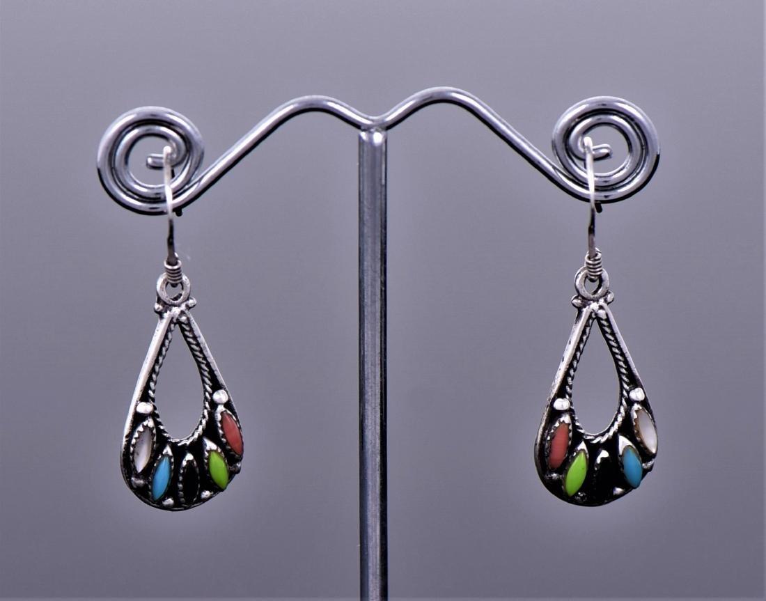 Multi Stone Native American Sterling Silver Earrings