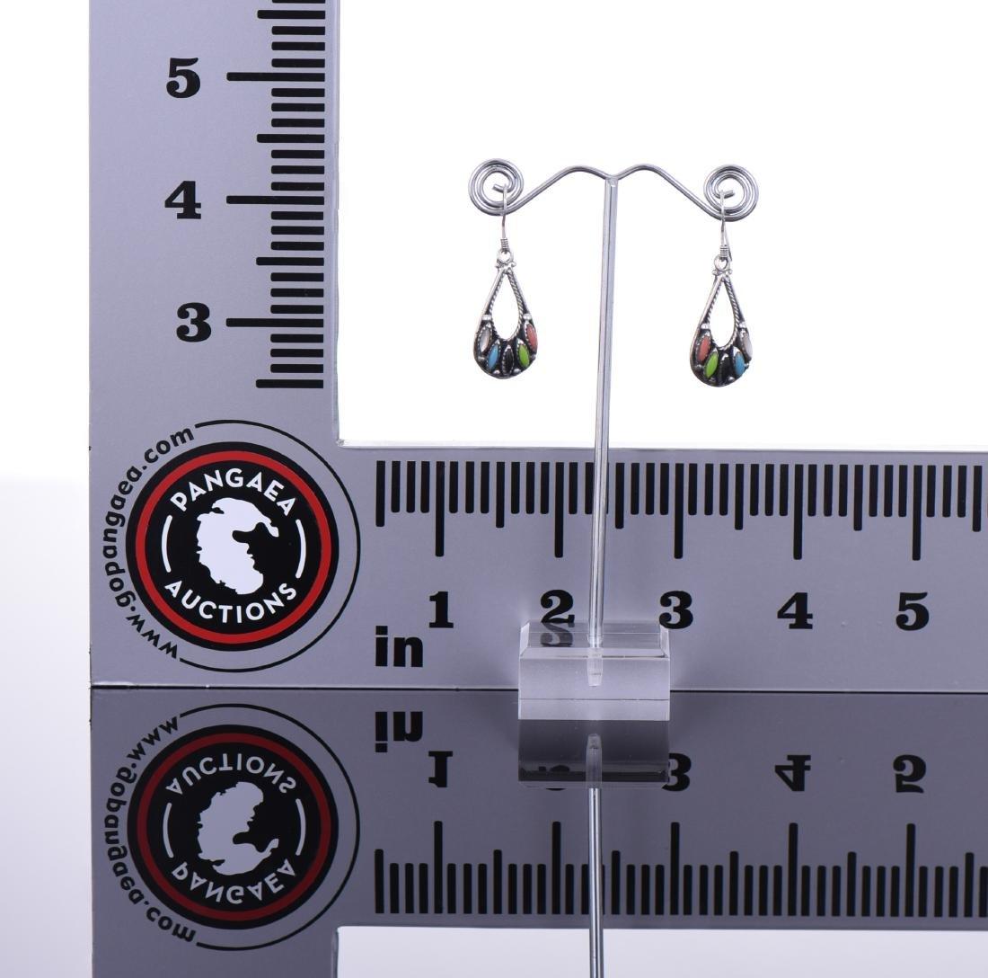 Multi Stone Native American Sterling Silver Earrings - 3