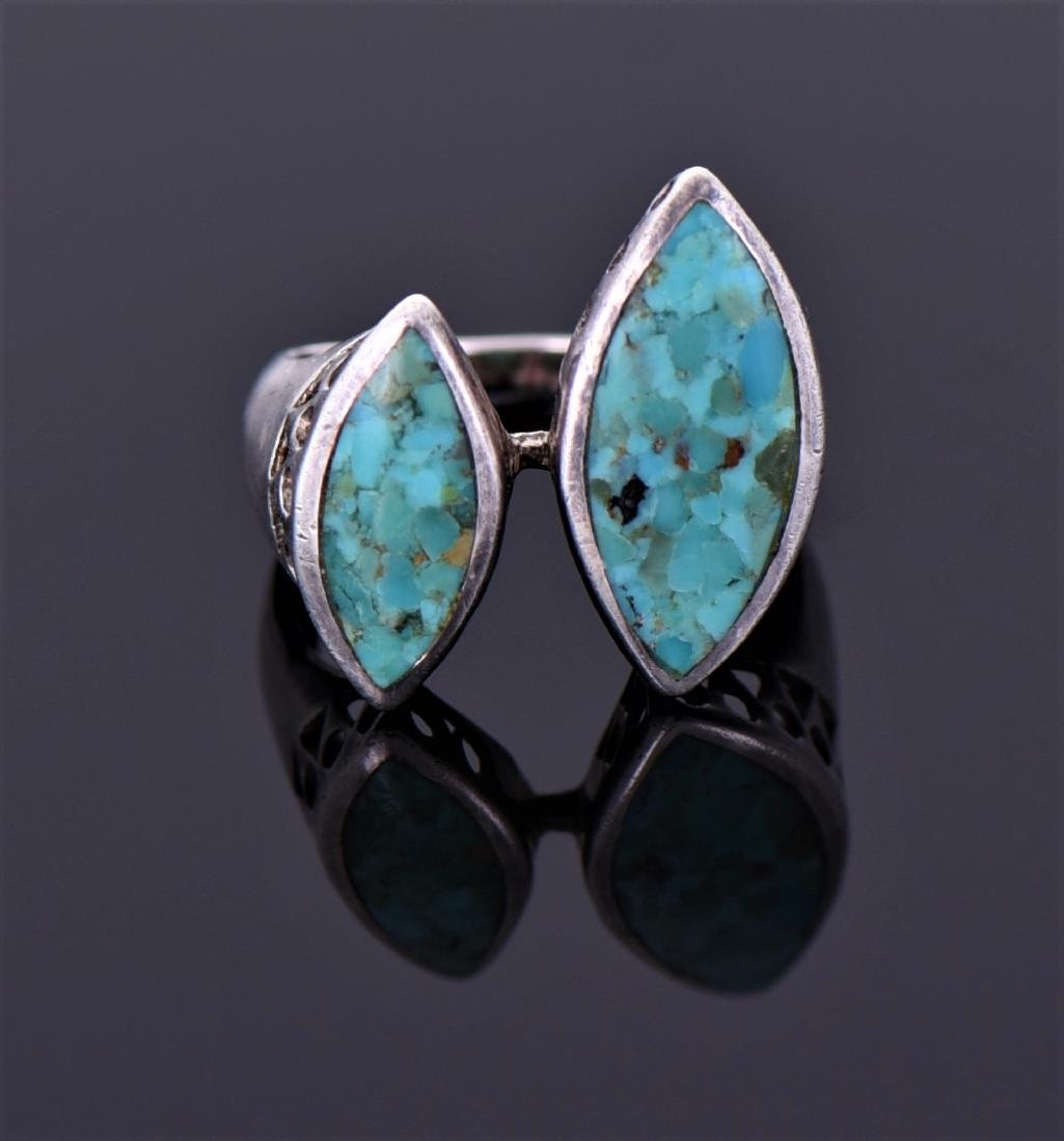 Sterling And Blue And Green Chip Turquoise Ring