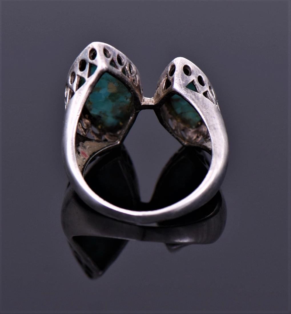 Sterling And Blue And Green Chip Turquoise Ring - 2