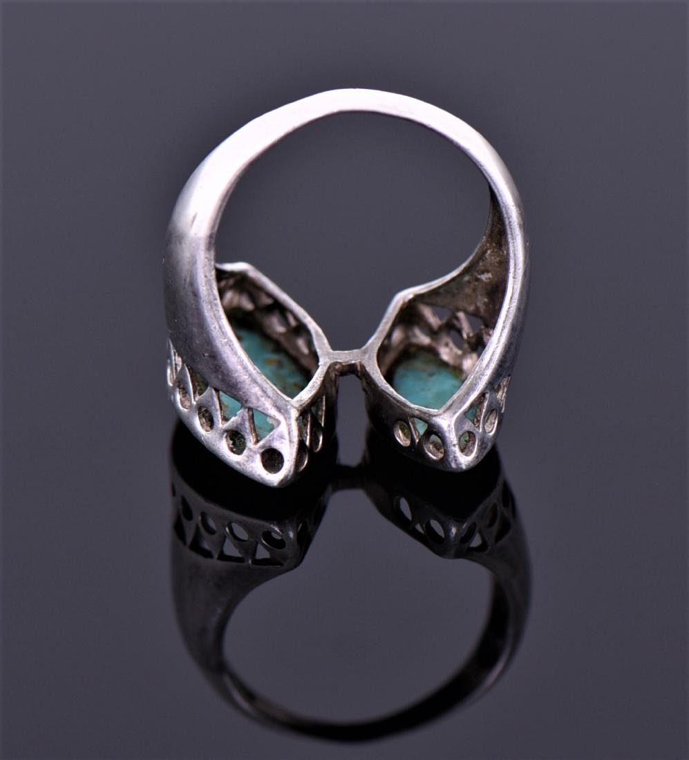 Sterling And Blue And Green Chip Turquoise Ring - 3