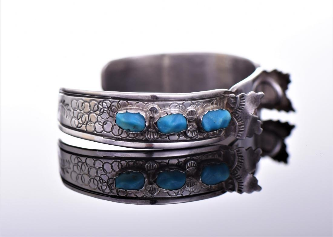 Navajo Sterling Silver Turquoise Cuff Watch - 2