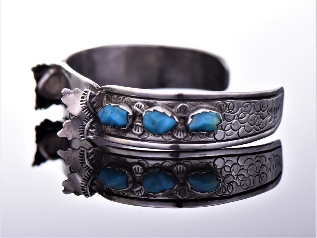 Navajo Sterling Silver Turquoise Cuff Watch - 3