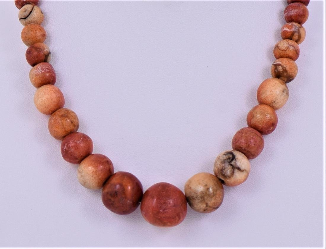 Natural Red Coral Graduated Bead Necklace. - 2