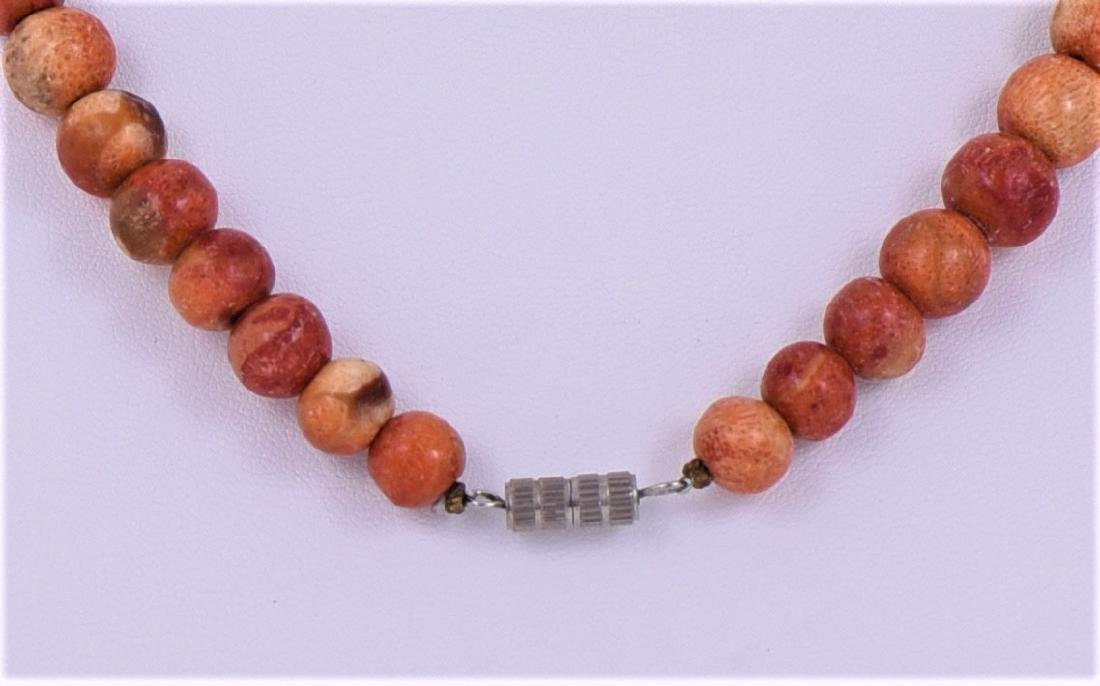 Natural Red Coral Graduated Bead Necklace. - 3