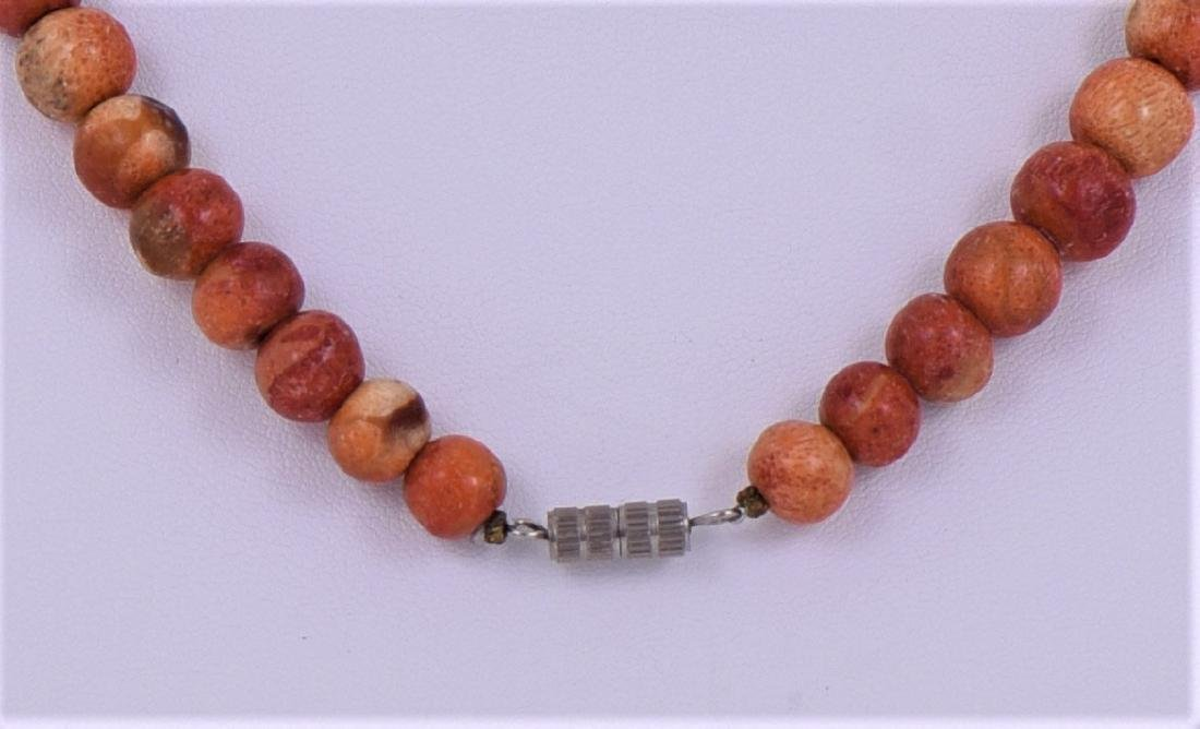 Natural Red Coral Graduated Bead Necklace. - 4