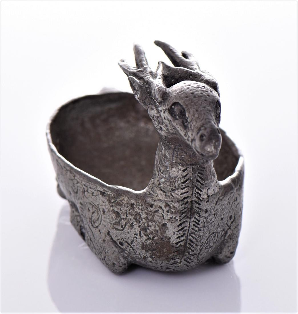 Antique White Metal Deer Cup. Possibly Nordic - 2