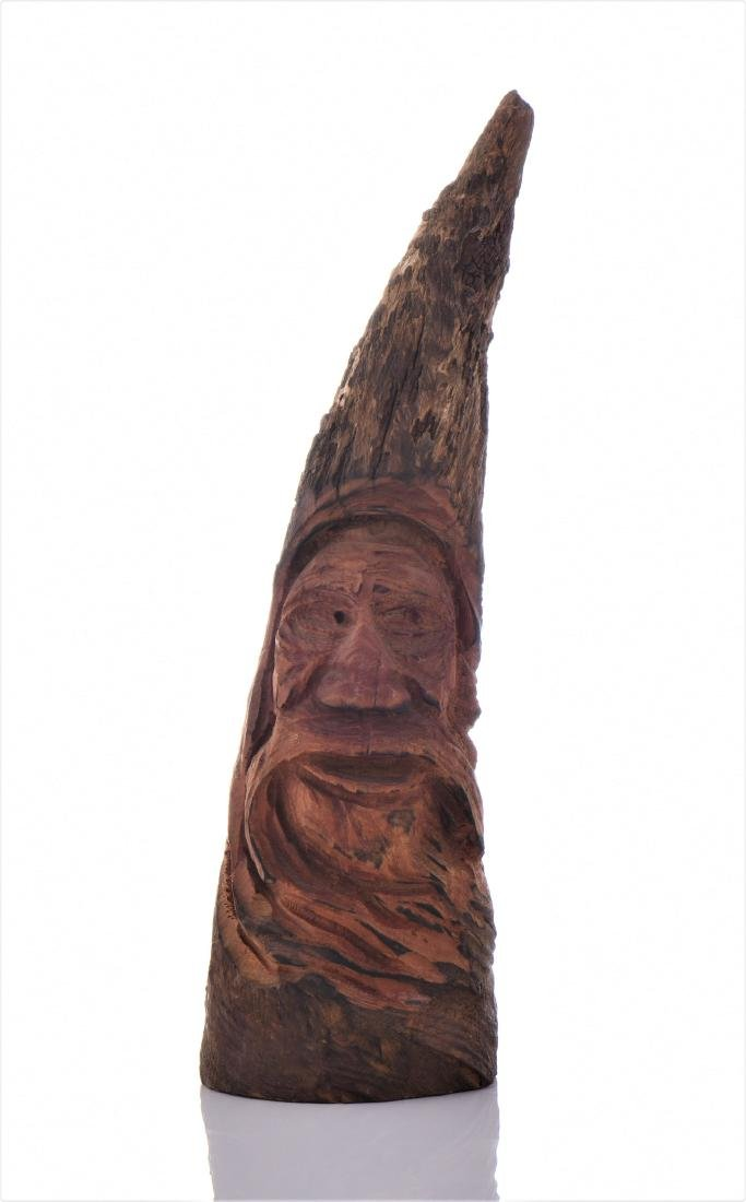Gnome Figure Carved From Hardwood.