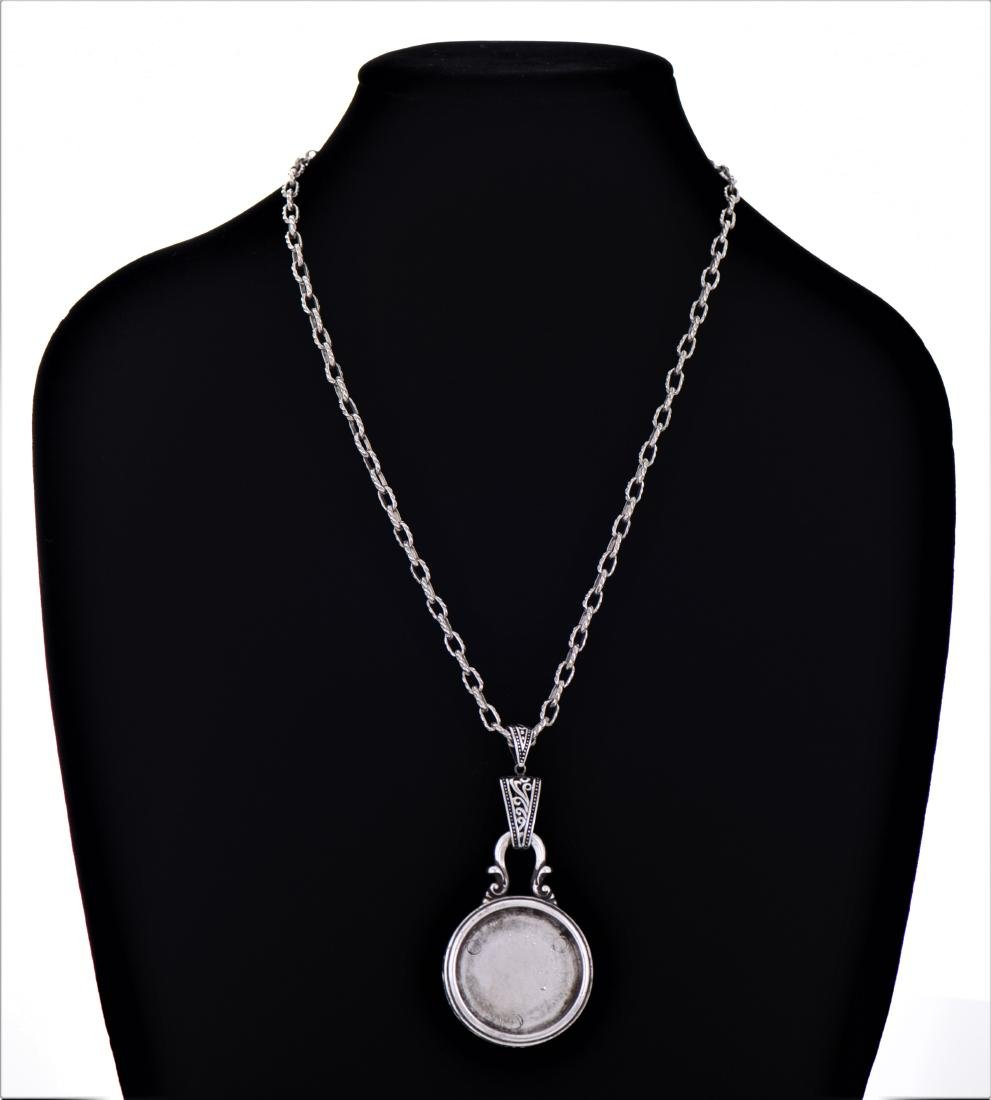 Sterling Silver Chain Necklace With Silver Round - 2