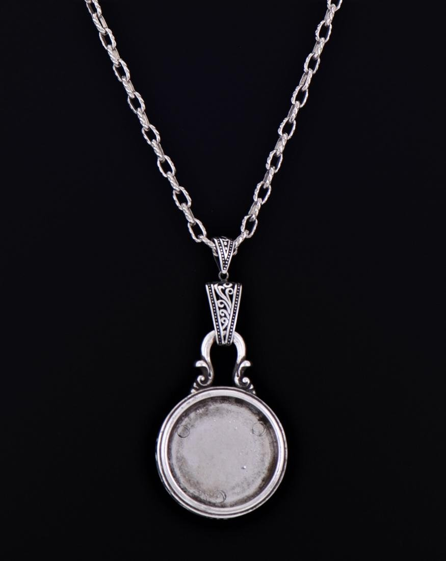 Sterling Silver Chain Necklace With Silver Round - 3