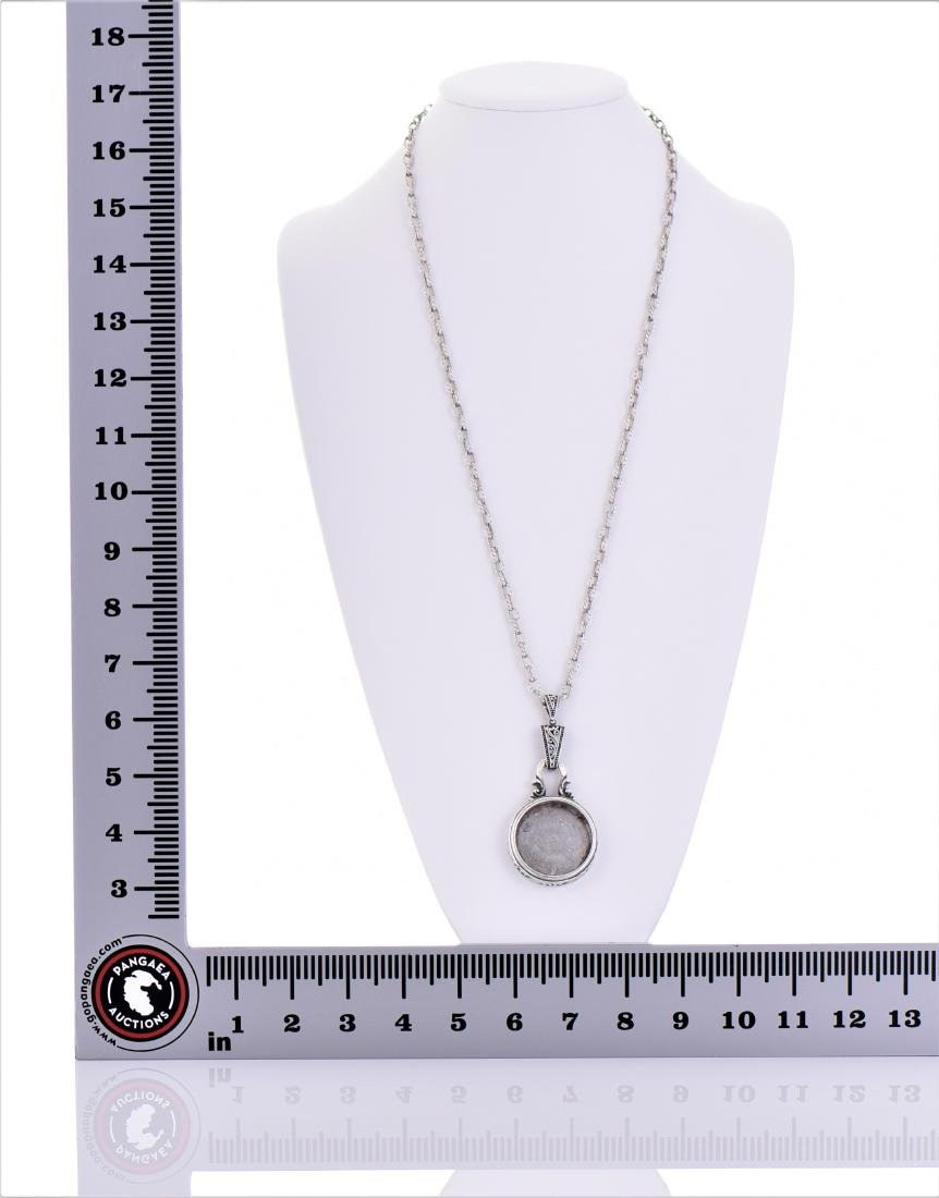 Sterling Silver Chain Necklace With Silver Round - 5