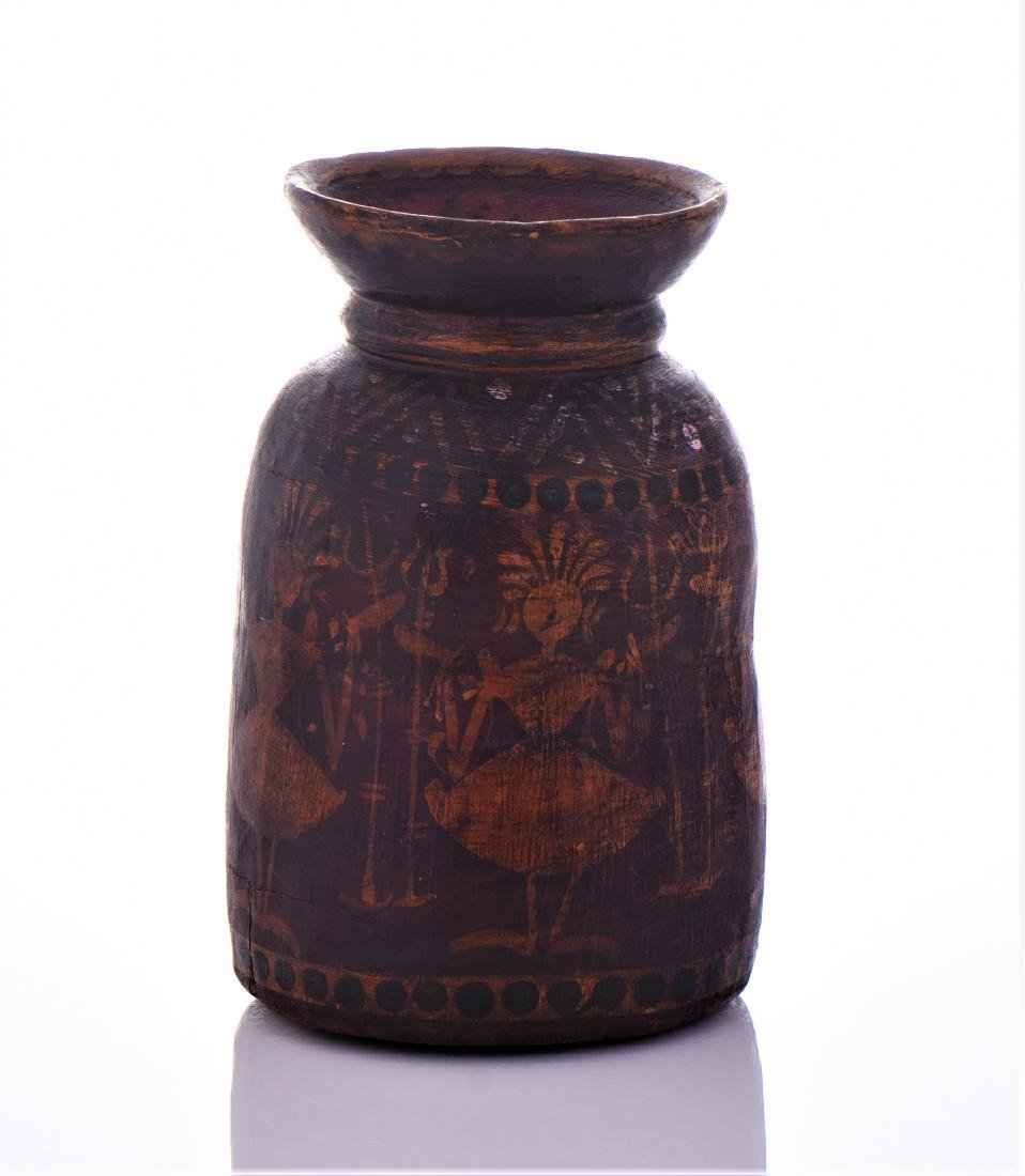 Antique Hollowed Log Bowl With Hand Painted Tribes - 2