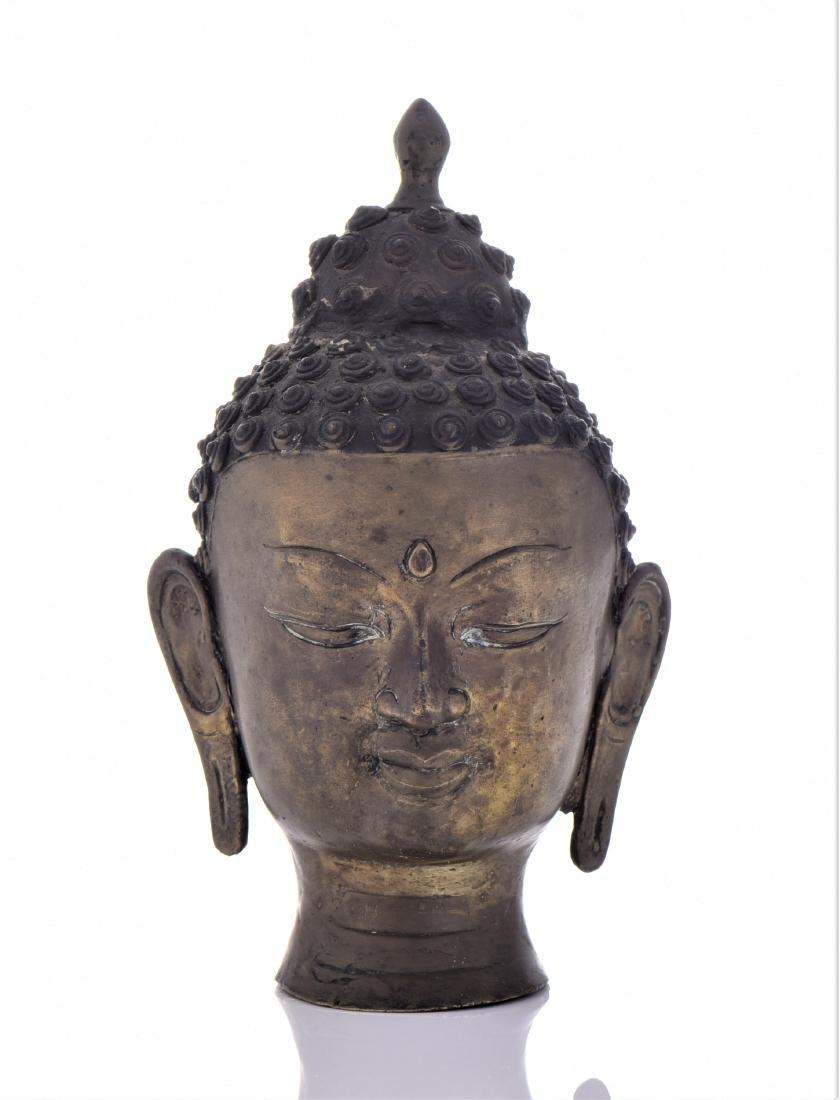 Antique Thai Bronze Buddha Head.