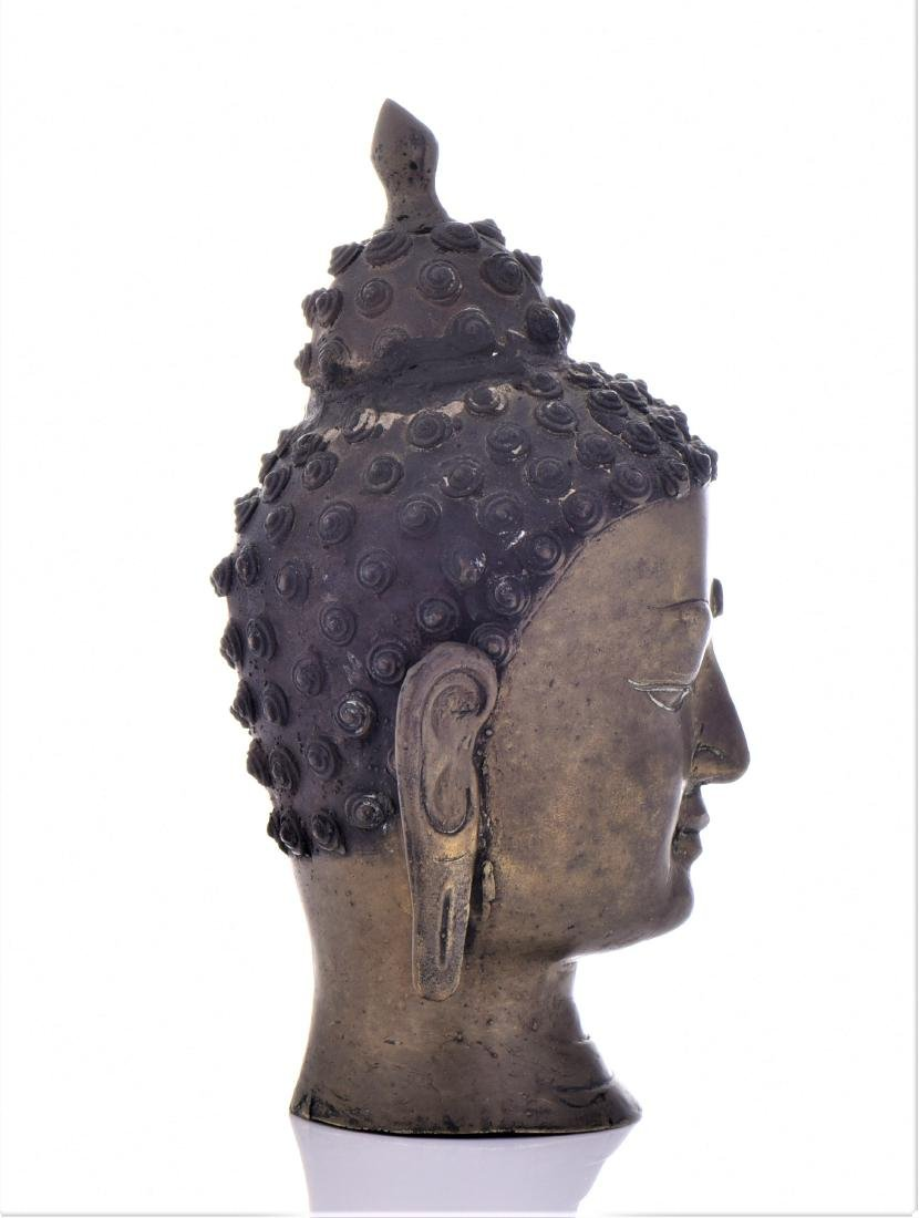Antique Thai Bronze Buddha Head. - 2