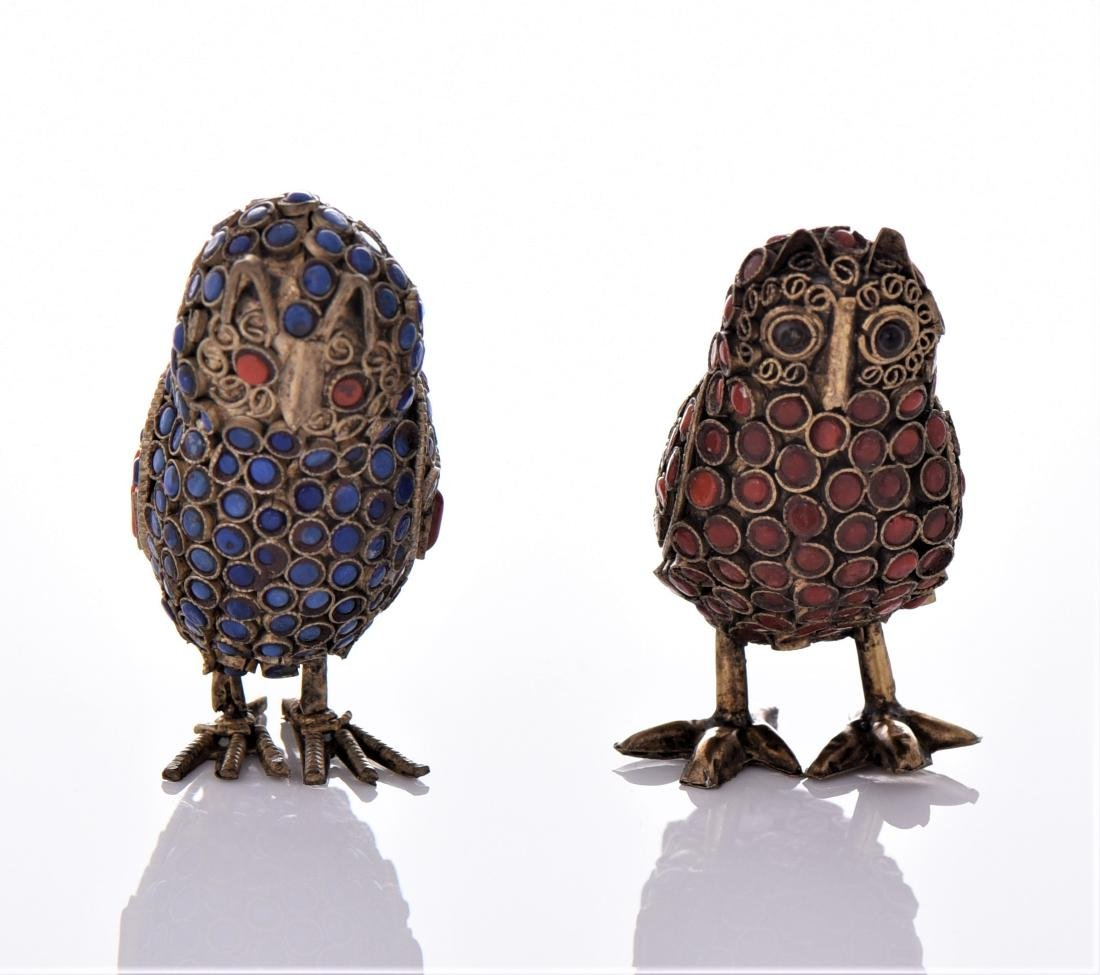 Two Antique Tibetan Brass Owls Made With Lapis