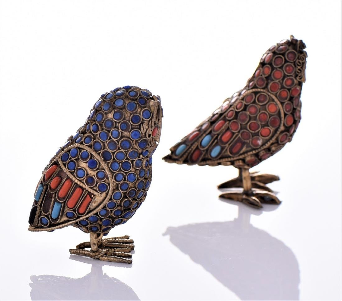 Two Antique Tibetan Brass Owls Made With Lapis - 2