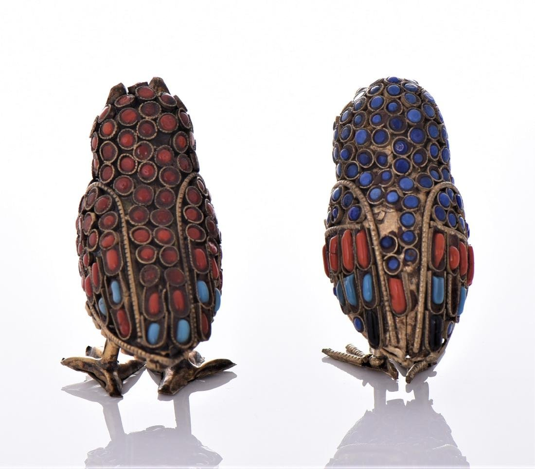 Two Antique Tibetan Brass Owls Made With Lapis - 3