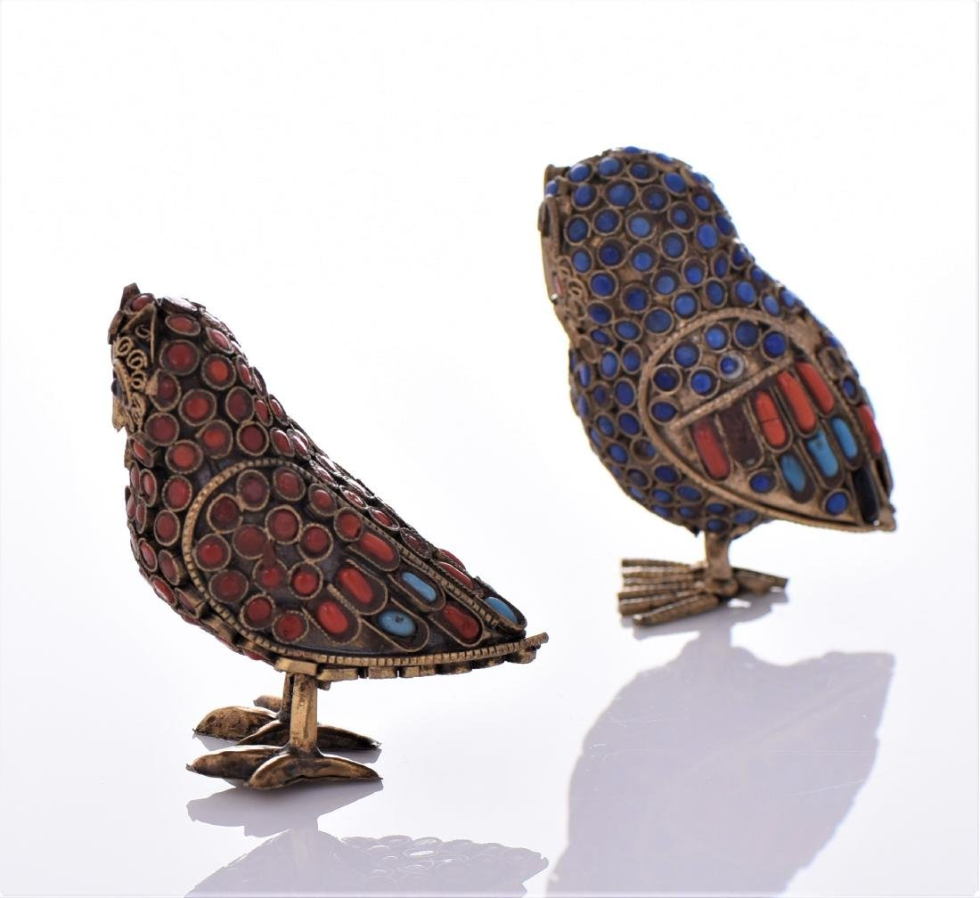 Two Antique Tibetan Brass Owls Made With Lapis - 4