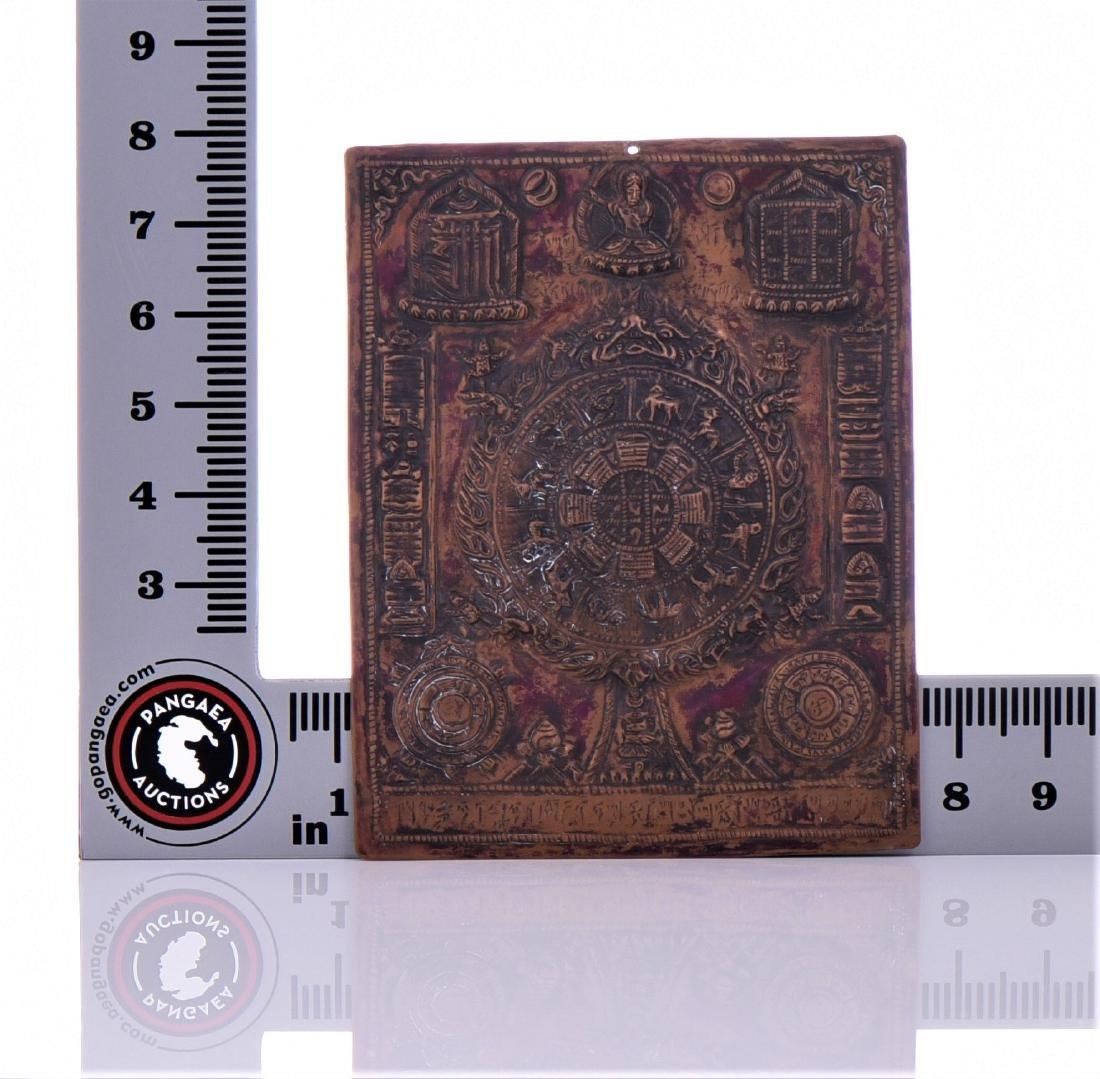 Antique Pressed Copper Tibetan Zodiac Plaque. - 3