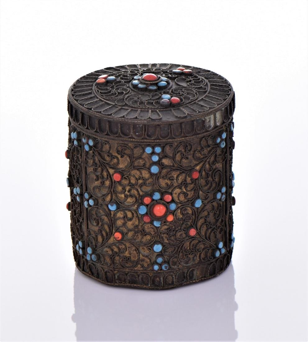 Tibetan Container Decorated With Turquoise And Red